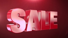 """"""" 35% Sale """" Animation Promotions In Red Text Seamlessly loopable Background Stock Footage"""