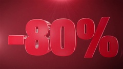 """""""80% Sale"""" Animation Promotions In Red Text Seamlessly loopable  Background Stock Footage"""