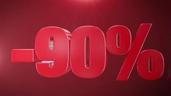 """""""90% Sale"""" Animation Promotions In Red Text Seamlessly loopable Background Stock Footage"""