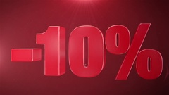 """ 10% Sale "" Animation Promotions In Red Text Seamlessly loopable Background Stock Footage"