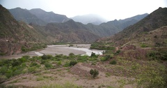 Riverbed in Peru in the Andes mountains. Near Cajamarca and Leymebamba. South Stock Footage