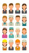 Set icon character cook, builder, business and medical people. Piirros