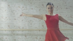Young and Beautiful Girl Performs Contemporary Dance. She Moves Smoothly  Stock Footage