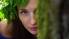 Portrait of a girl with a wreath on his head. Beautiful white girl with freckles Stock Footage