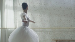 Young and Beautiful Ballerina Gracefully Dances on Her Pointe Ballet Shoes.  Stock Footage