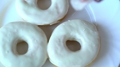 Technology of cooking and decoration of donuts Stock Footage