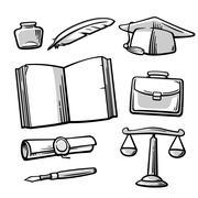 Set vintage symbols on the subject school, college, university education. Stock Illustration