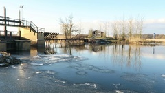 Winter at historical needle weir on Havel river (Brandenburg, Germany) Stock Footage