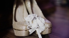 Wedding background. bride flawor and Bride shoes Stock Footage