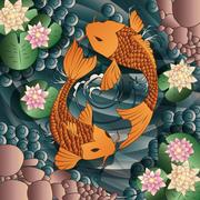 Carp Koi fish swimming in a pond with water lilie Stock Illustration