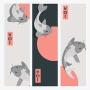 Three vertical banners with carp koi fish swimming around Sun Stock Illustration