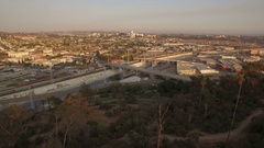 Los Angeles Downtown Sunset Aerial Shot of East LA Arkistovideo