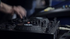 DJ work. Hands of a DJ on the mixer Stock Footage