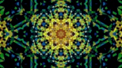Geometrical Floral Kaleidoscope Fractal Abstract Colored Background Stock Footage