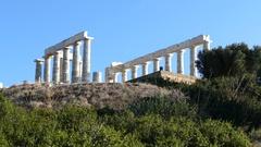 Temple of Poseidon at Cape Sounio Stock Footage
