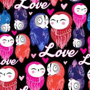 Seamless bright pattern with owls in love Stock Illustration