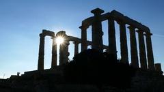 Sunshine through the Temple of Poseidon Stock Footage