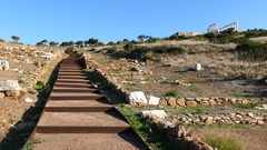 Stairs to the Temple of Poseidon Stock Footage