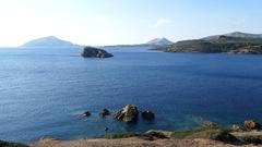 Coast seen from the Temple of Poseidon Stock Footage
