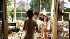 Mom and kids at home balcony Afternoon time Stock Footage