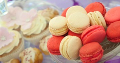 Colorful macaroons on the plate Stock Footage