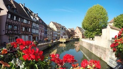 Colmar, France. half timbered houses and channels. small Venice. Stock Footage