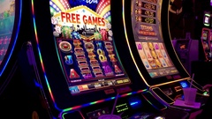 Motion of people playing slot machine and win big price inside Hard Rock Casino Stock Footage