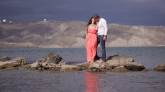 Lovers on the background of amazing scenery Stock Footage