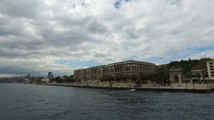 Trip in the Istanbul Bosphorus and Beautiful View of Ciragan Palace from Sea Stock Footage
