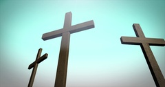 Three crosses on calvary in ambient environment   alt angle blue sky Stock Footage