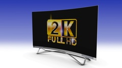 2k screen TV crumbles and becomes 4k. 3d render. Stock Footage