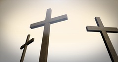 Three crosses on calvary in ambient environment   alt sunset version Arkistovideo