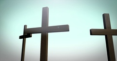 Three Crosses on Calvary in ambient environment Stock Footage