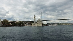 Trip in The Istanbul Bosphorus and View of Ortakoy Mosque and Bosphorus Bridge Stock Footage