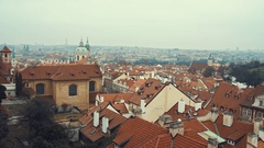 Red roof tiles panorama of Prague old town Stock Footage