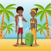 Couple afro american with backpack baggage palm sand beach Stock Illustration