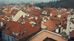 Old tiled red Prague roofs Stock Footage