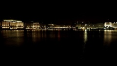 Hamburg Inner Alster Lake at Night Stock Footage