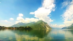 Picturesque view of Lake Como and Lecco city, Italy Stock Footage