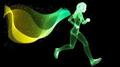 Vector Silhouette Woman athletes on running race Stock Illustration