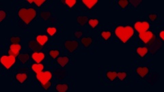 Seamless Looping Red Heart Particles On Black Abstract Background Stock Footage