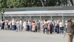 Most turn people buy tickets to the park, Peterhof, Saint Petersburg, Russia Stock Footage