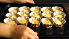 Cooking cupcake. Chef making muffins. Baking muffins. Raw dough cake Stock Footage
