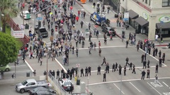 Protest Walks by Police, Wide Stock Footage
