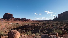 Monument Valley Time Lapse at John Ford Point USA Desert Rock Formation Pan R Stock Footage