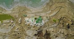 Dead Sea sinkhole   Crane dowen Stock Footage