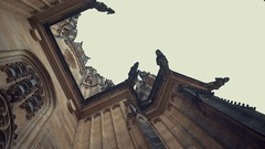 Closeup view on gothic cathedral of St. Vitus in Prague Castle, Prague, Czech Stock Footage