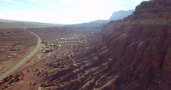 Cinema 4k aerial rising view on a desert town, near marble canyon, in Arizo.. Stock Footage