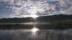 Foggy Marsh Sunburst at Bear Lake Wildlife Refuge Idaho Stock Footage