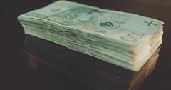 Polish zloty banknotes closeup. Rotating banknotes Stock Footage
